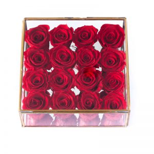 RED PRESERVED ROSES PLACED IN A MIRRORED BOX